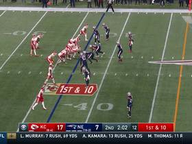 Travis Kelce churns through Chung for tough first down