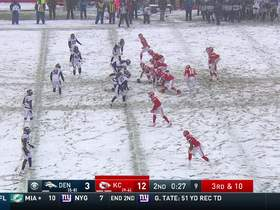 Shelby Harris has more fun in the snow after planting Mahomes for sack