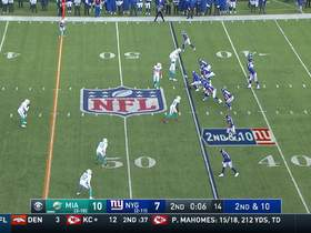 Nik Needham picks off Eli Manning to end first half