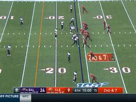 Mayfield rips frozen rope down the seam to Ricky Seals-Jones for big gain